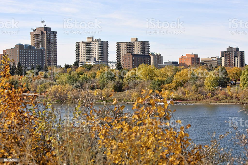 Autumn Colors and Downtown Saskatoon Skyline royalty-free stock photo