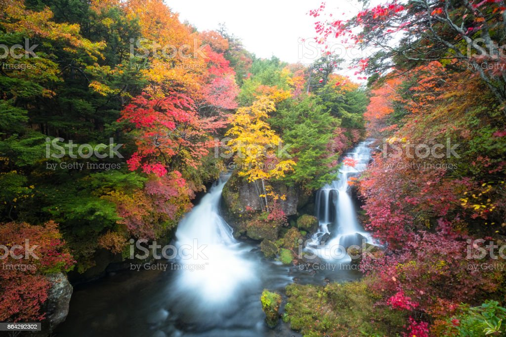 Autumn Colors and Ryuzu waterfall royalty-free stock photo