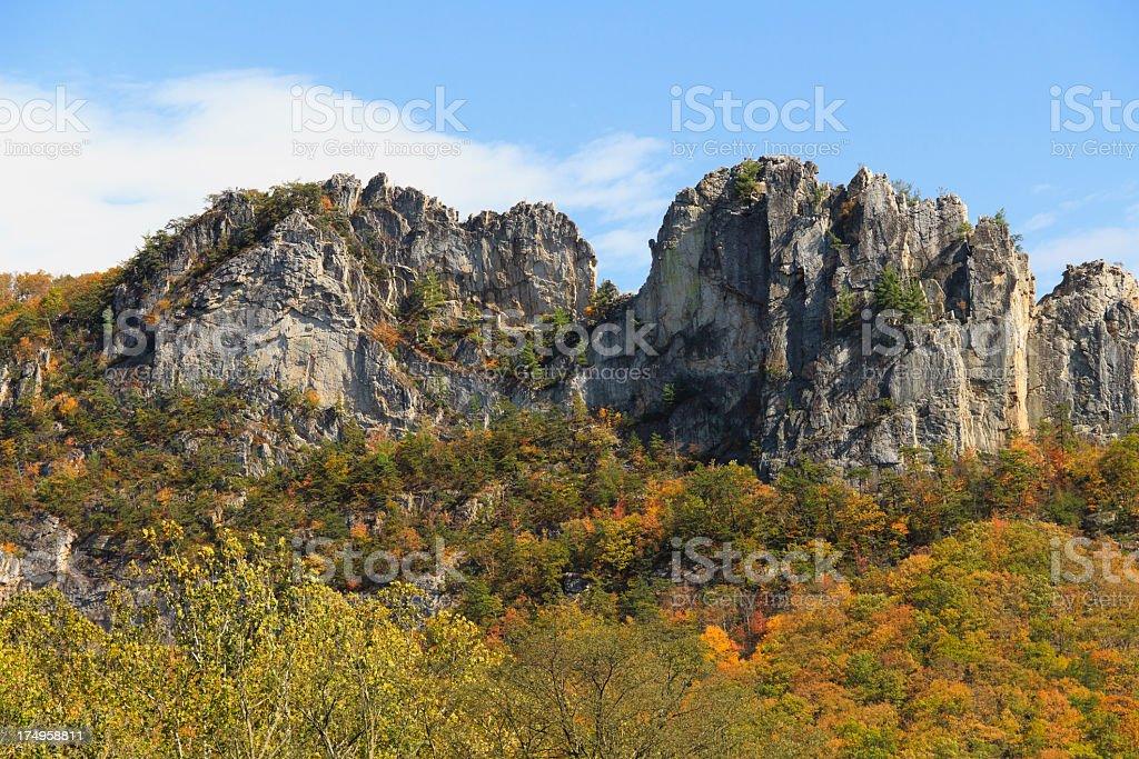 Autumn Colors at Seneca Rocks, West Virginia stock photo