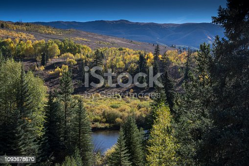 The beginning of fall along the Blue River in Silverthorne, Summit County, Colorado in the Rocky Mountains