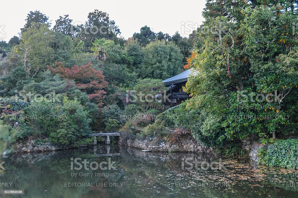 Autumn colors at the Ryoan-ji temple in Kyoto, Japan stock photo