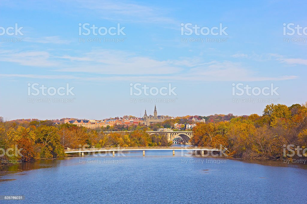 Autumn colors in Georgetown, Washington DC. stock photo