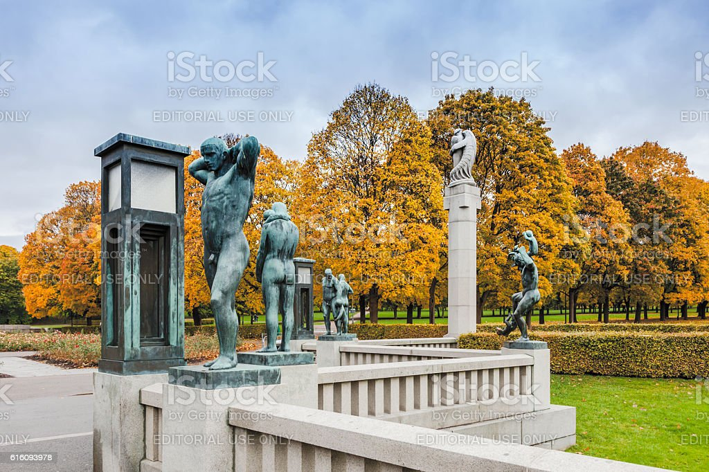 Autumn colors in Gustav Vigeland park  with the bronze sculptures. stock photo