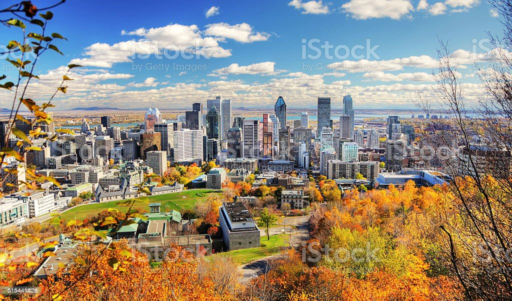Autumn Colors in Montreal City stock photo