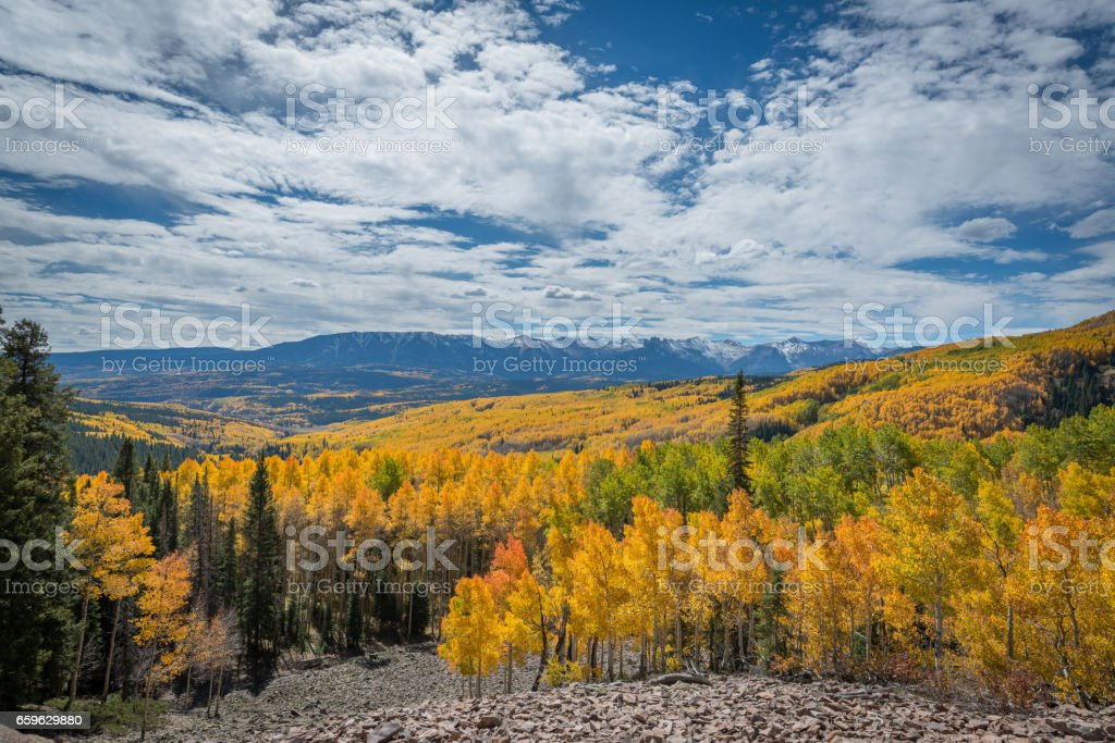 Autumn colors in Rocky Mountain National Park stock photo