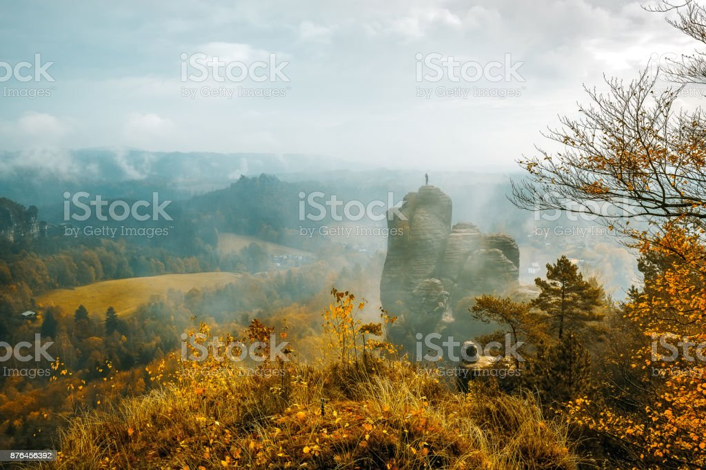 Autumn colors in the Elbe sandstone mountains stock photo