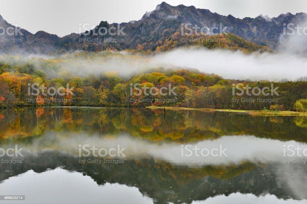 Autumn Colors of Kagami-ike (Mirror Pond), Nagano, Japan stock photo