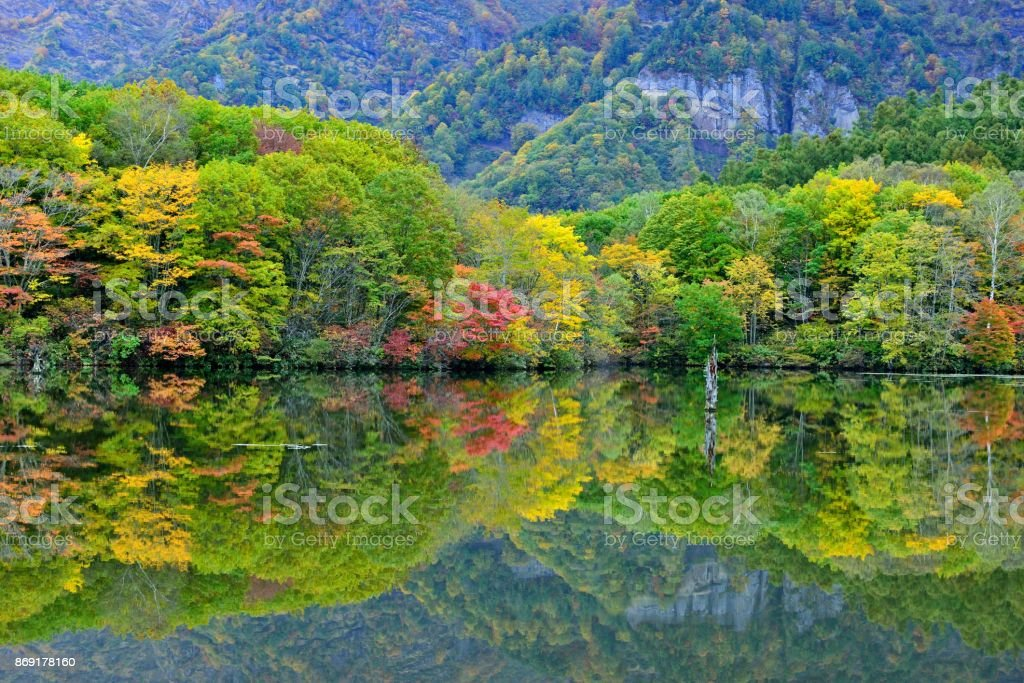 Autumn Colors of Kagami-ike (Mirror Pond), Nagano, Japan stock photo