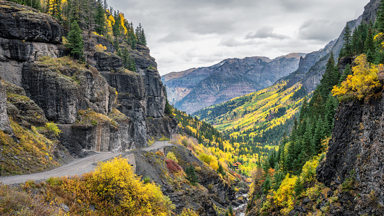 Autumn colors on Camp Bird Road out of Ouray, Colorado