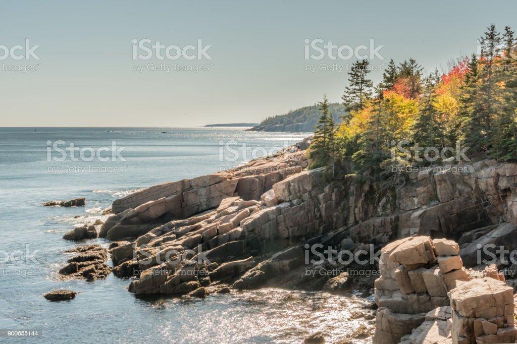 Autumn Colors on Rocky Maine Coast stock photo