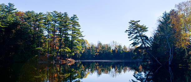 autumn colors reflections on the lake - provincial park stock photos and pictures