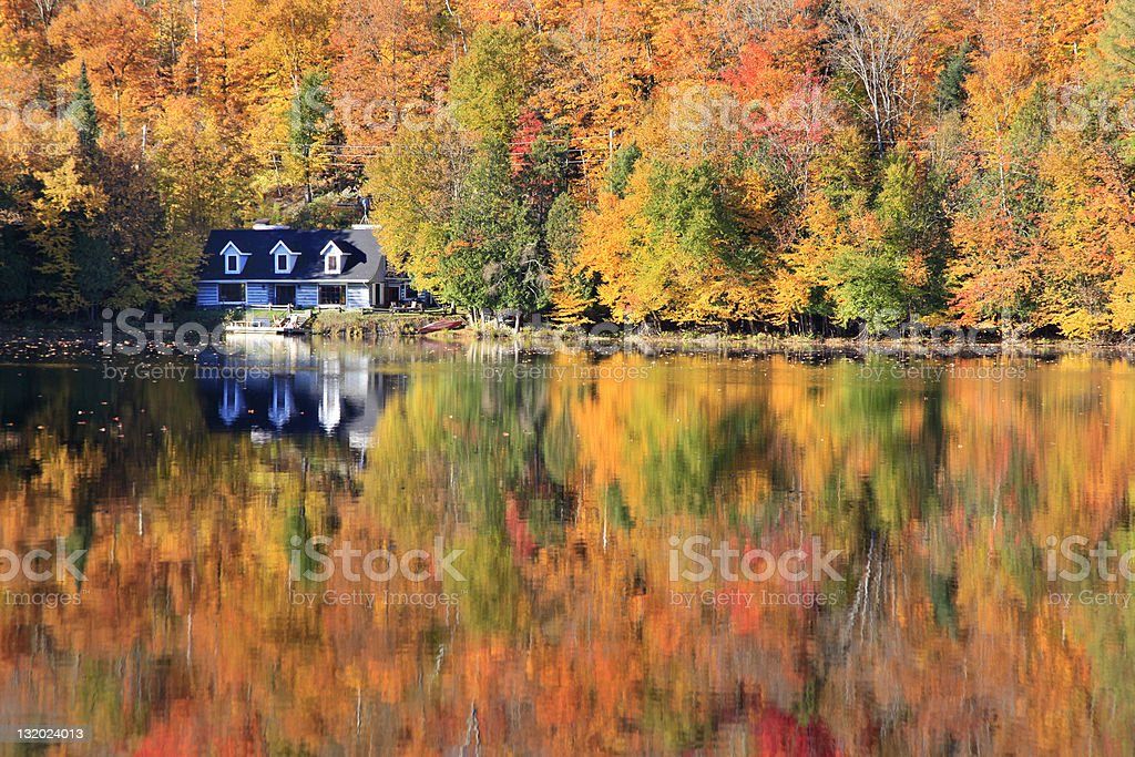 Autumn colors reflections on the lake, Quebec, Canada stock photo