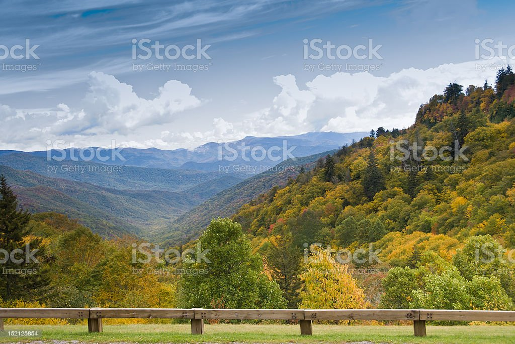 Autumn colors view from Newfound Gap Road on Smoky Mountains stock photo