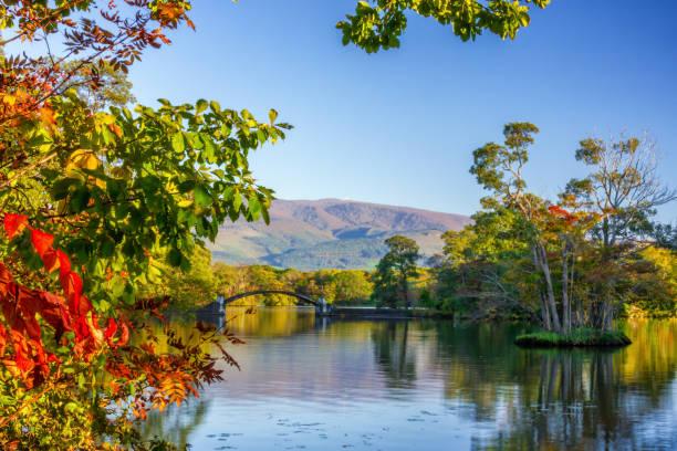 Autumn colors of  Onuma Quasi National Park stock photo