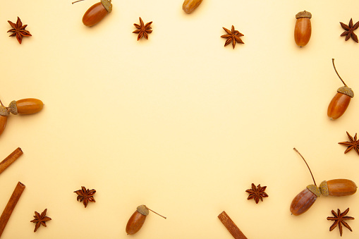 istock Autumn composition. Acorn, pine cone, anise star. Flat lay, top view, copy space 1272605414