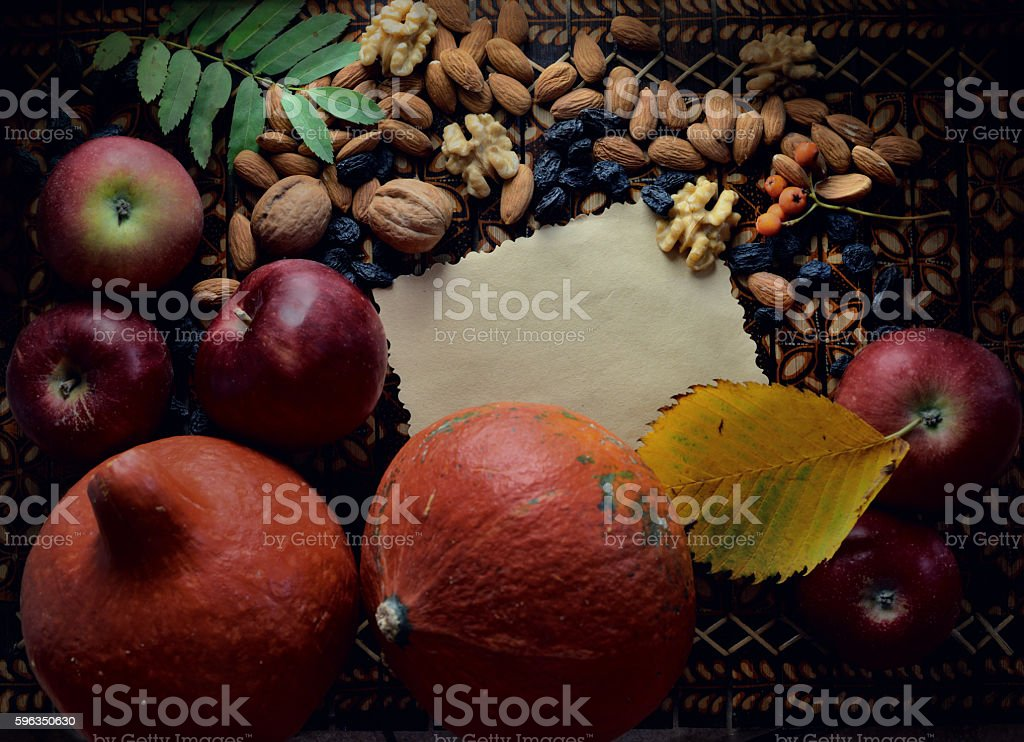 Autumn composition and sheet of paper on wooden background royalty-free stock photo