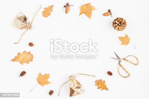 istock Autumn composition on white background. Flat lay, top view 842957606