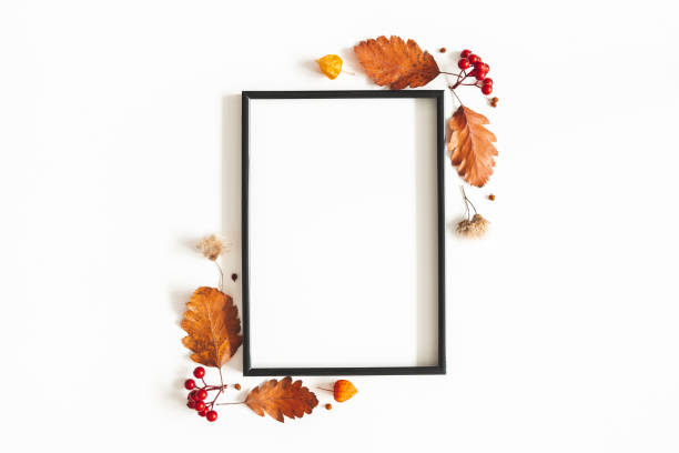 Autumn composition. Photo frame, flowers, leaves on white background. Autumn, fall, thanksgiving day concept. Flat lay, top view, copy space stock photo