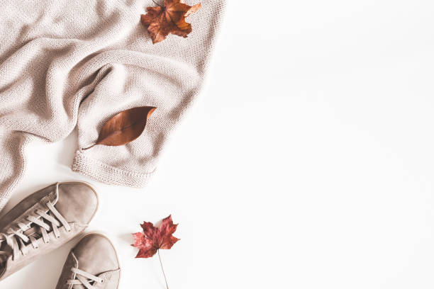 Autumn composition. Women fashion clothes on white background. Sweater, sneakers, dried leaves. Autumn, fall concept. Flat lay, top view, copy space stock photo
