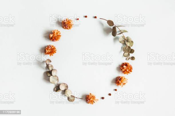 Photo of Autumn composition. Wreath made of dried flowers, eucalyptus leaves, berries on gray background. Autumn, fall, thanksgiving day concept. Flat lay, top view, copy space