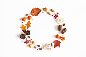 Autumn composition. Wreath made of dried leaves, flowers, rowan berries, pine cones on white background. Autumn, fall, thanksgiving day concept. Flat lay, top view, copy space