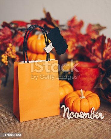 Autumn concept - gift bag with miniature pumpkins