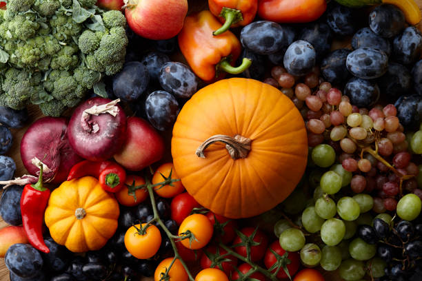 autumn concept with seasonal fruits and vegetables - crop stock pictures, royalty-free photos & images