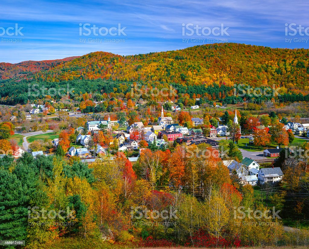 Autumn country village in the Green Mountains of Vermont stock photo