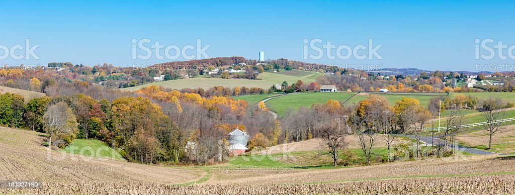 Autumn Countryside Landscape with Gently Rolling Hills and Valleys stock photo