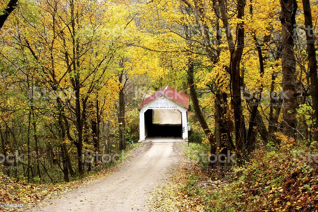 Autumn Covered Bridge stock photo