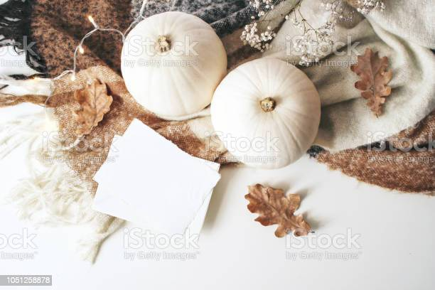 Photo of Autumn cozy composition. Blank card mockup scene. White pumpkins, dry oak leaves, Christmas lights and wool plaid on white table background. Thanksgiving, fall, Halloween concept. Flat lay, top view.