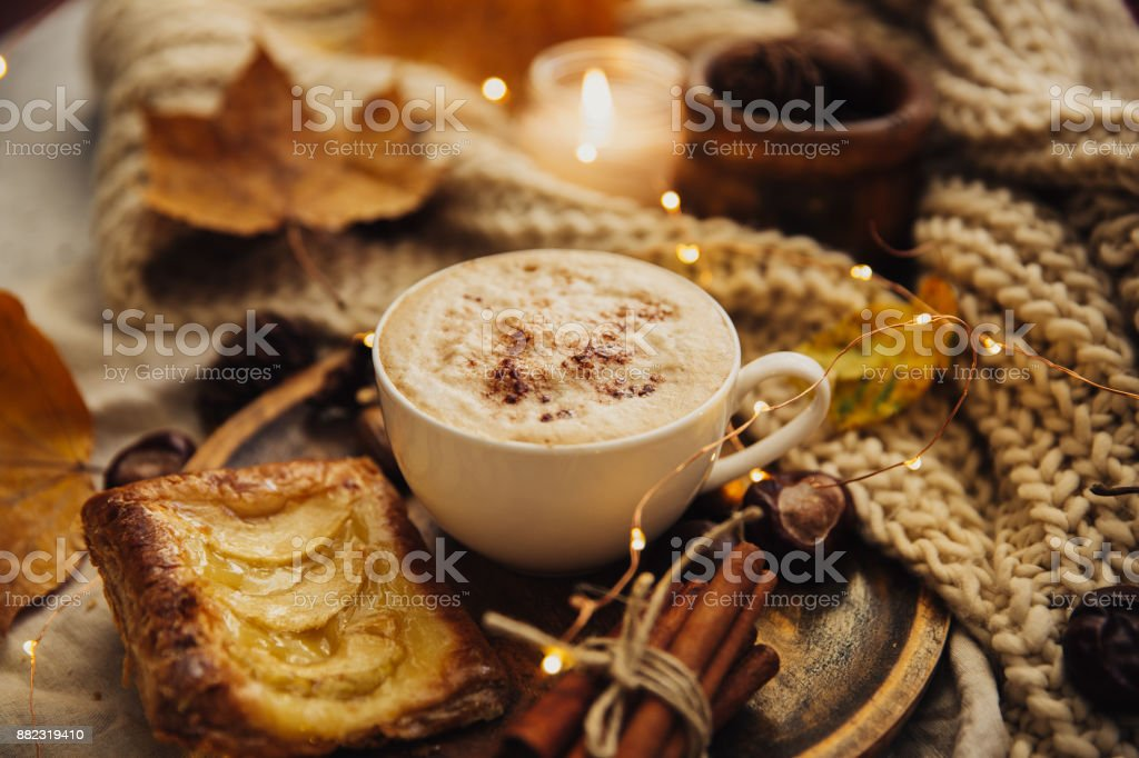 Autumn Cozy Fall Background With Hot Coffee Cup And Decorations Hipster Blogger Morning Stock Photo Download Image Now Istock