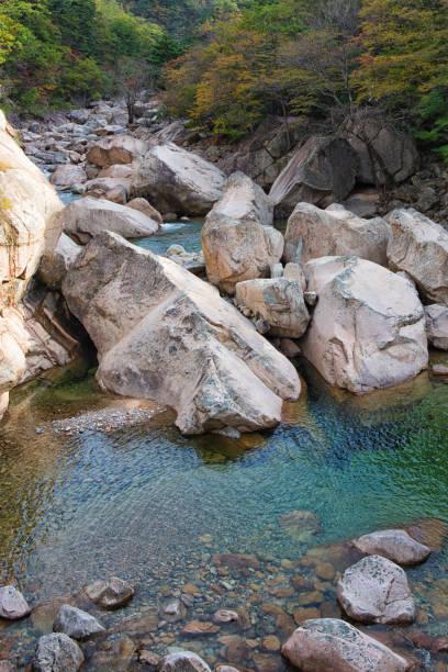 Autumn Creek at Seoraksan National Park, Korea stock photo