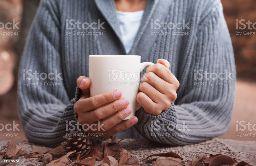 Autumn cup of coffee royalty-free stock photo
