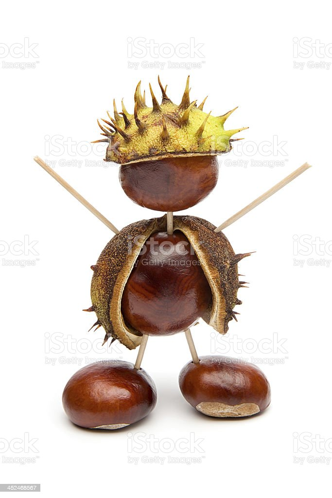 Autumn - Cute little Chestnut Man, Isolated on White stock photo