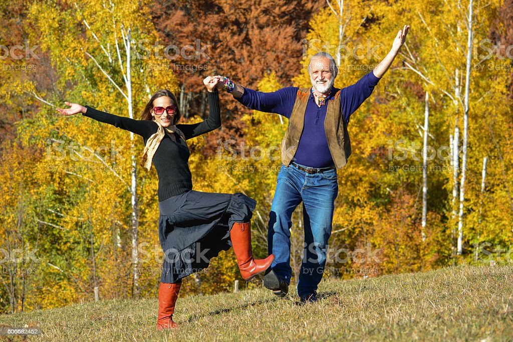 Autumn dance on a meadow stock photo