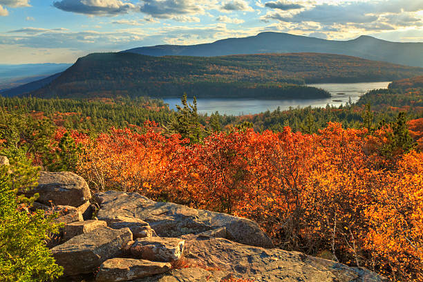 """Autumn Day at Sunset Rock """"Afternoon sun on sunset rock in the Autumn, overlooking North-South Lake in the Catskills Mountains of New York. (HDR)."""" catskill mountains stock pictures, royalty-free photos & images"""