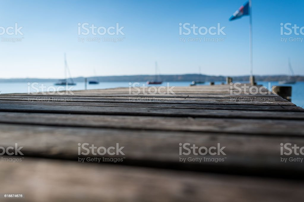 Autumn day at the  Ammersee Bavaria stock photo