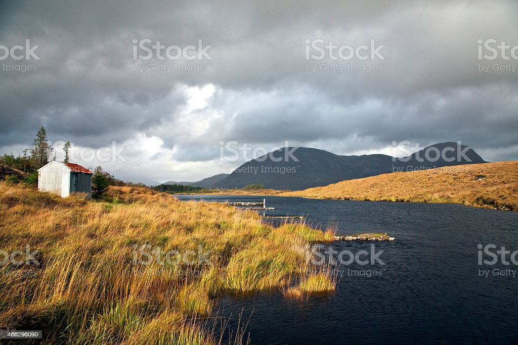 Autumn day in Ballynahinch, Connemara, Galway, Ireland stock photo