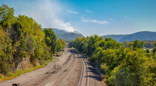 Autumn Day in Beacon, NY Overlooking a Smoking Mountain stock photo
