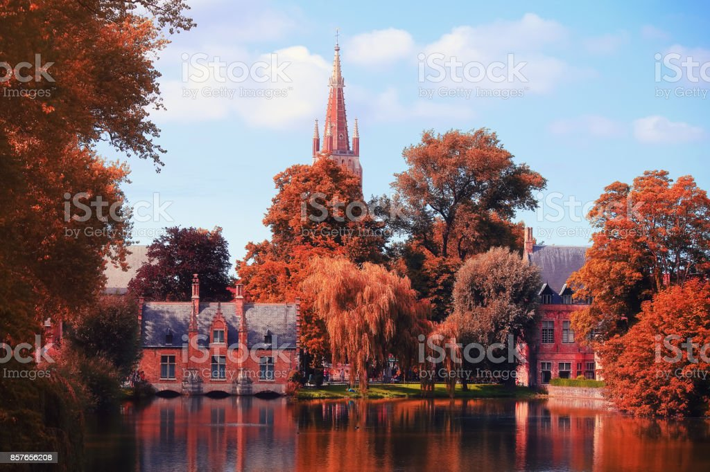 Autumn day in Brugge stock photo