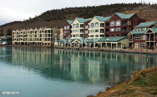 Keystone,Colorado,America - October 27,2017:Autumn day in Colorado at the Keystone resort with water reflections in the lake of the hotel building