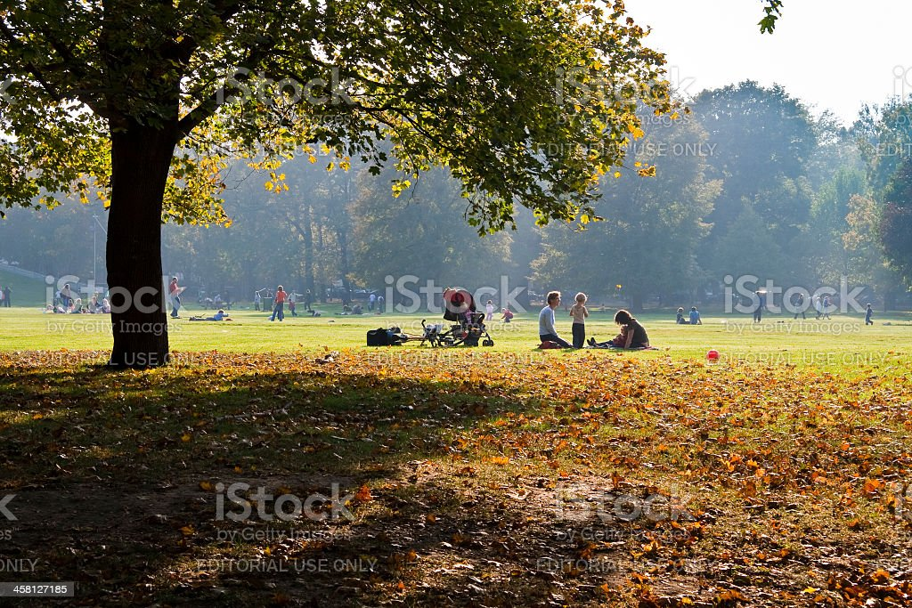 Autumn day in the Vienna Prater Park royalty-free stock photo