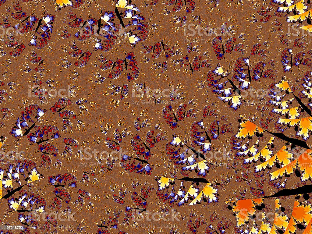 Decaying autumn coloured fractured fractal pattern stock photo