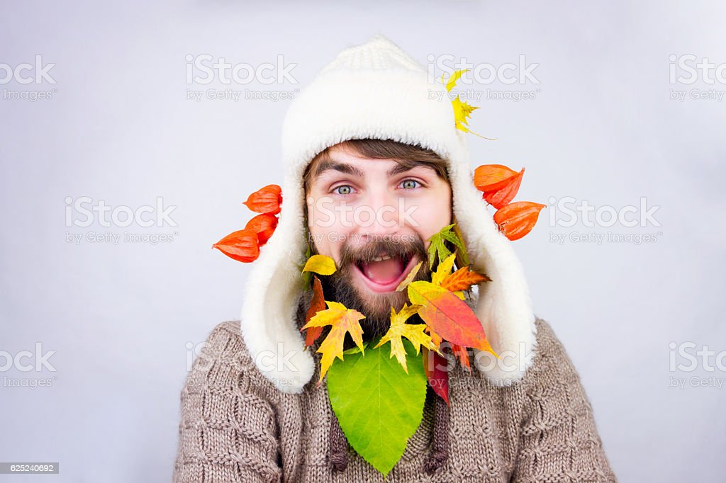 Autumn decorated beard stock photo