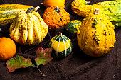 Autumn decoration arrangement with fallen leaves closeup