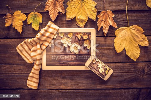 Autumn decoration on the old grunge wooden background with digital tablet and mobile phone