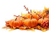 istock Autumn decoration on white with copy space 471455149