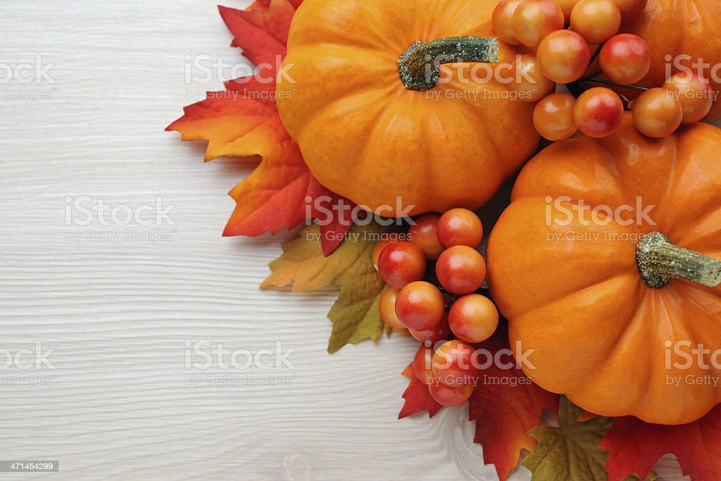 Autumn decoration on wood with copy space stock photo