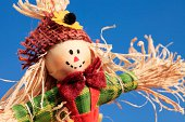 Close-up of scarecrow on blue sky background.